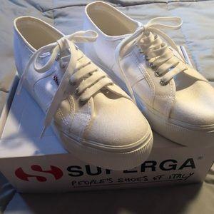White Superga Platform Sneakers Size 9.5/41 NIB